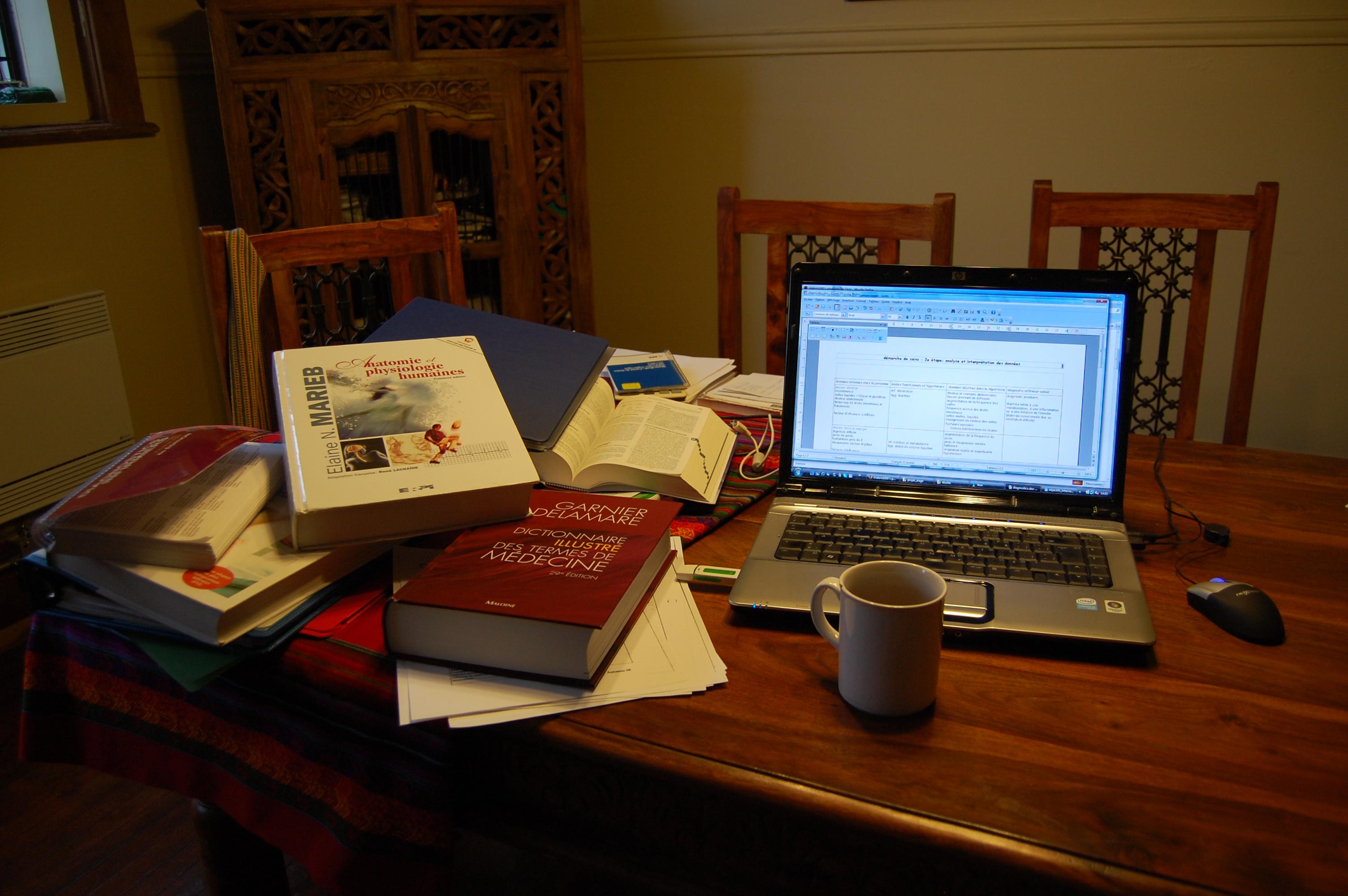 ma table de travail avec ma tasse de thé indispensable