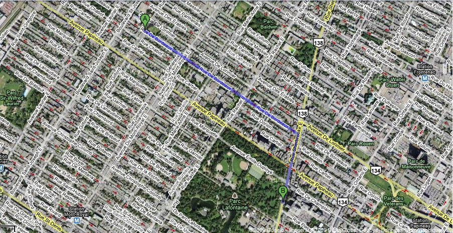 la distance qui sépare mon appart (A) et l'hôpital (B). Je vais pouvoir aller luncher dans le magnifique parc Lafontaine!